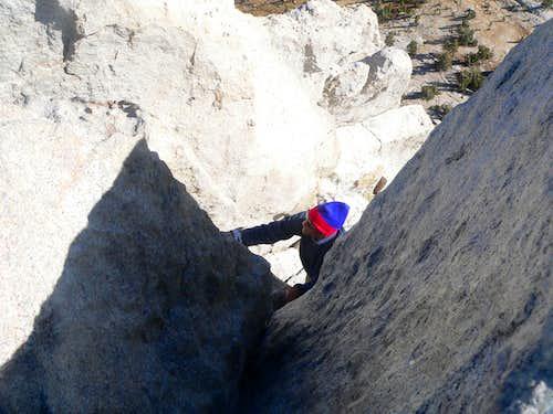 Climbing the summit block