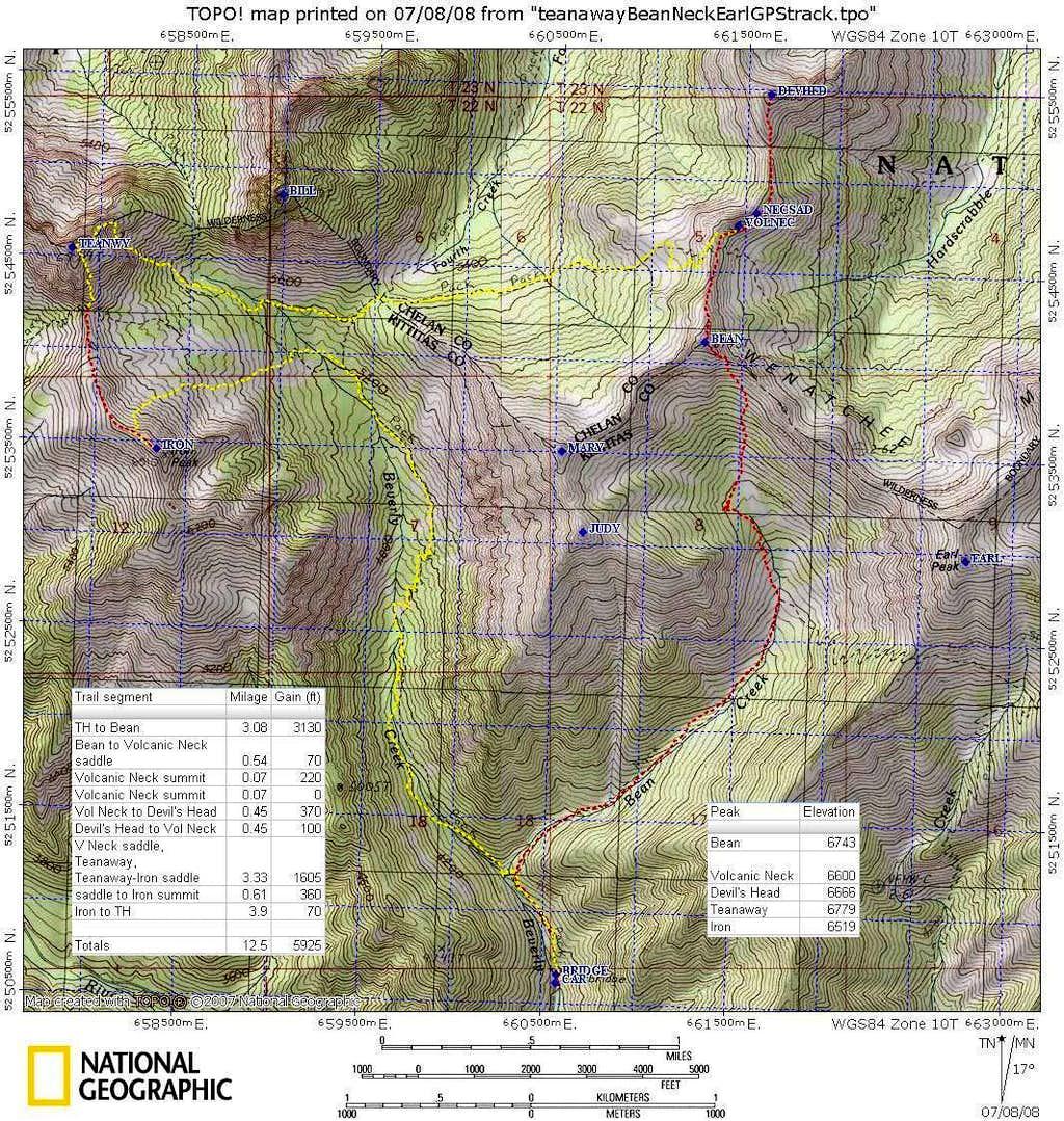 Teanaway Topo Map