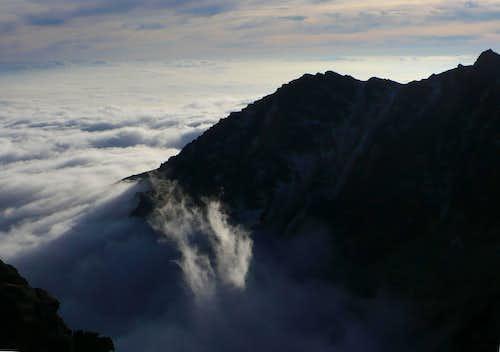 Predné Solisko (2093 m) above clouds
