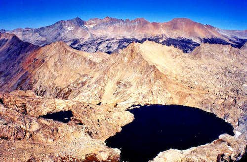 Kaweah Peaks Ridge and Columbine Lake from Sawtooth Peak