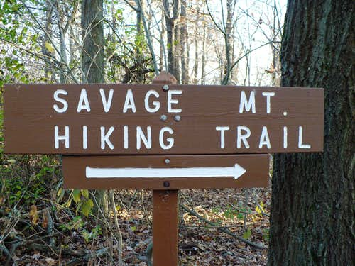 Savage Mountain Hiking Trail Sign