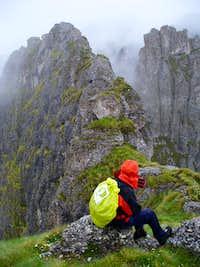 Acul Mare (Big Needle) ridge from Acele Morarului (Morar Needles)- Bucegi mountains 1