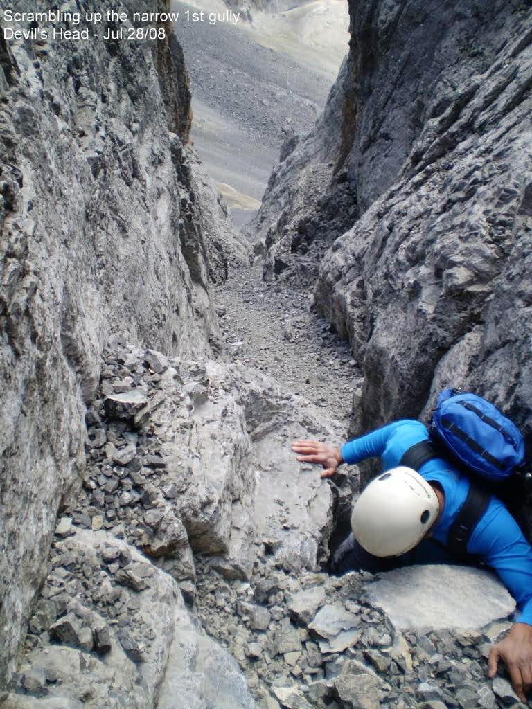 Scrambling the South gulley.