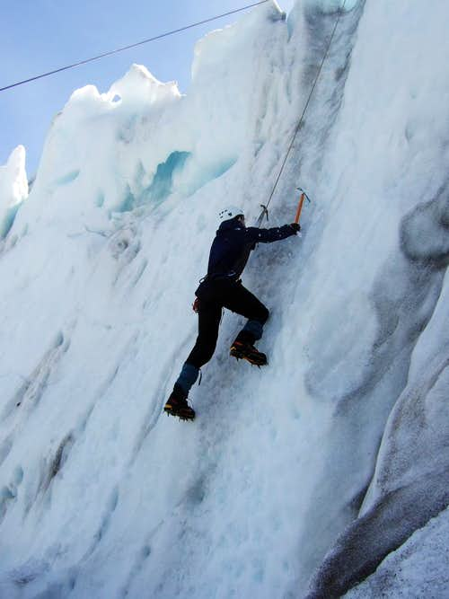 Ice Climbing on a serac wall