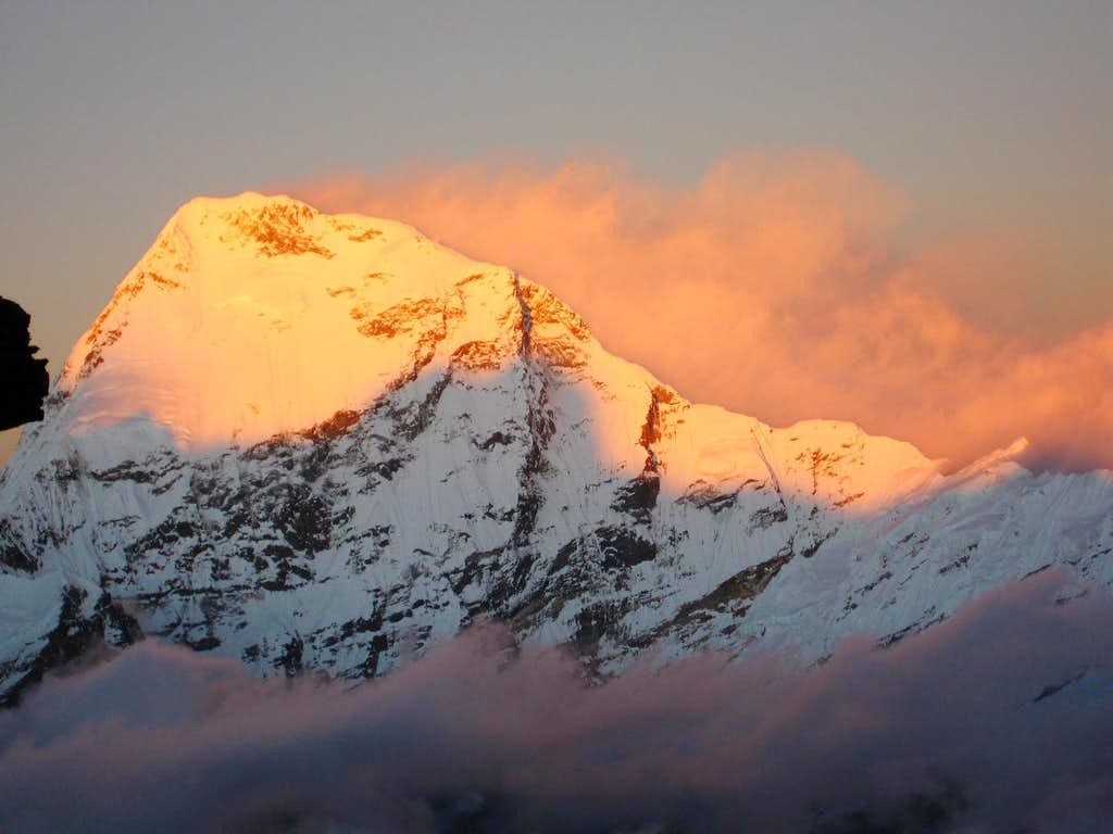 Chamlang (7.319 m.) from the high camp of Mera Peak