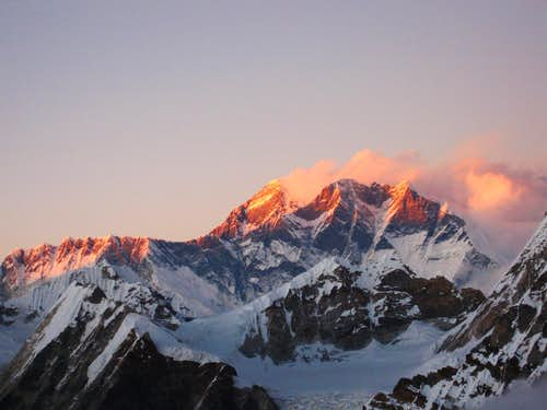 Everest and Lhotse from the high camp of Mera Peak