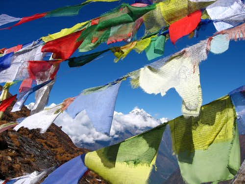 prayer flags near Lukla