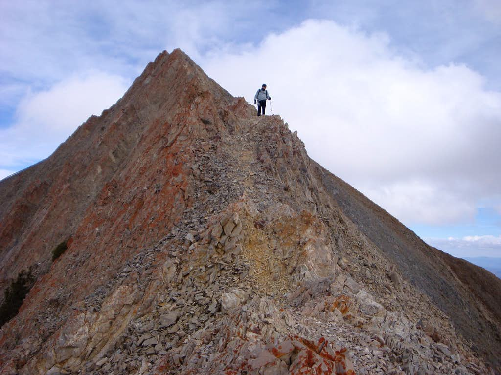 Descending the sharp narrow south ridge of Mt Nebo's north peak