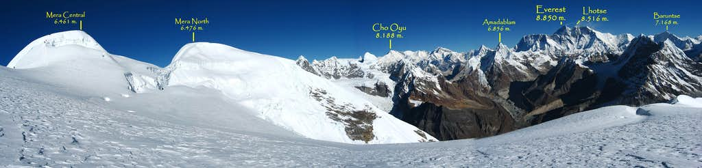 Everest, Cho Oyu and Mera North and Central from the glacier