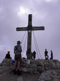 Hikers at the summit of Mangart
