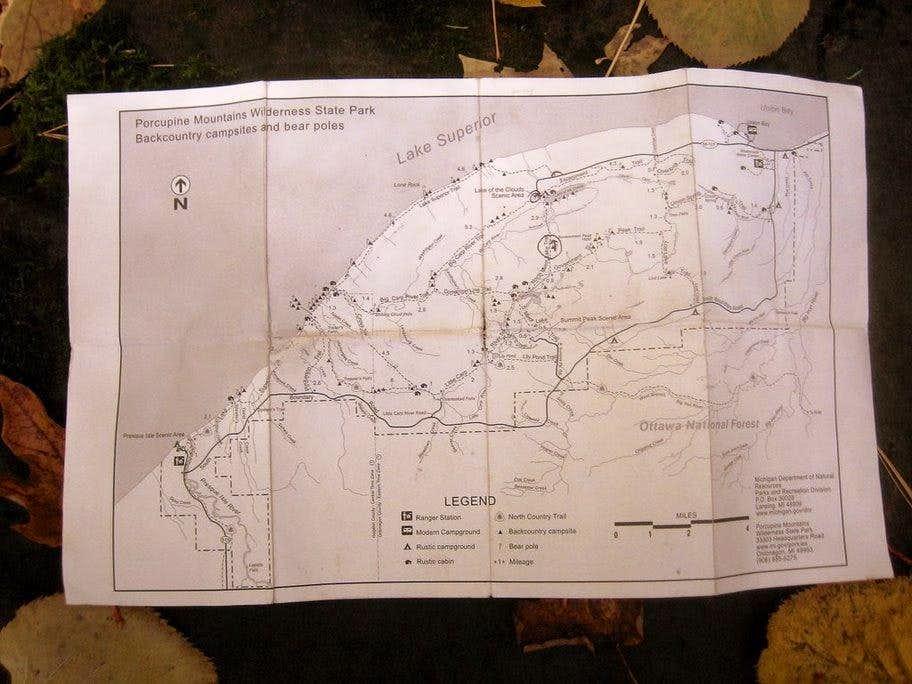 Porcupine Mountains Trail Map : Photos, Diagrams & Topos ...