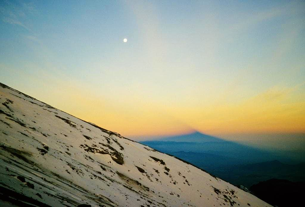 Shadow of Pico de Orizaba at sunrise...
