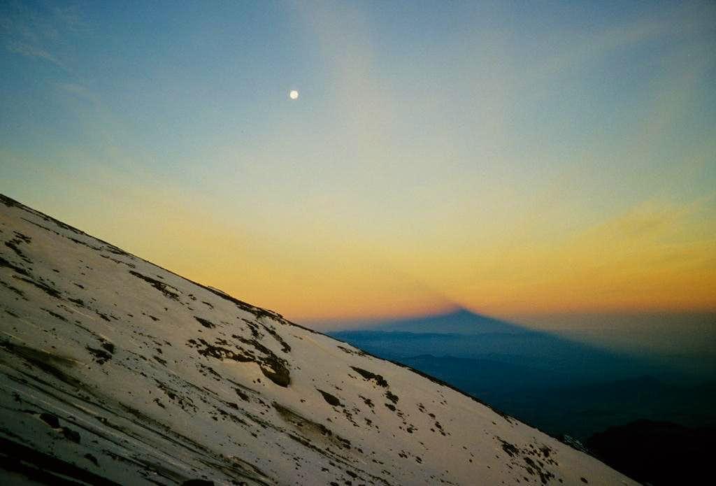 Shadow of Pico de Orizaba at sunrise...