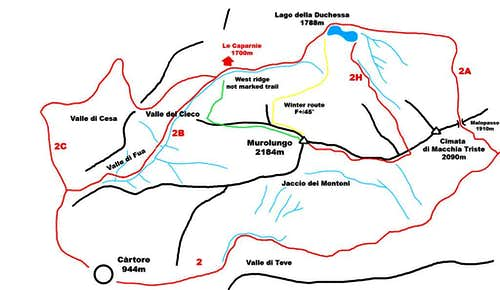 Murolungo and Duchessa lake map