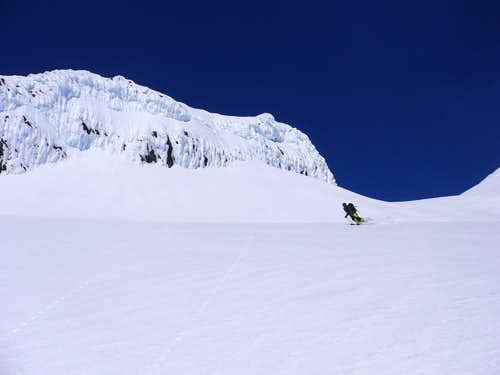 skiing down in perfect conditions
