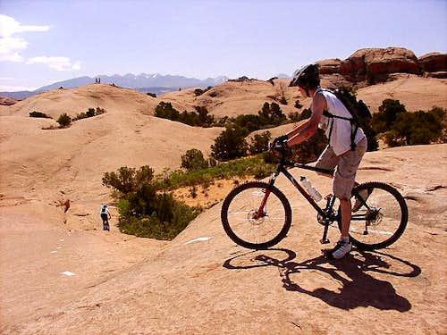 Sand Flats near Moab: bikers...