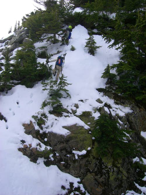 steep snow downclimbing