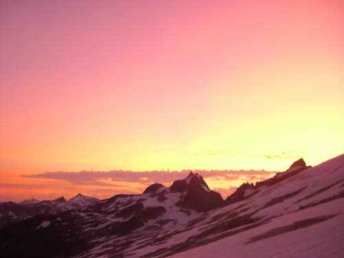 sunset from the glacier terminus