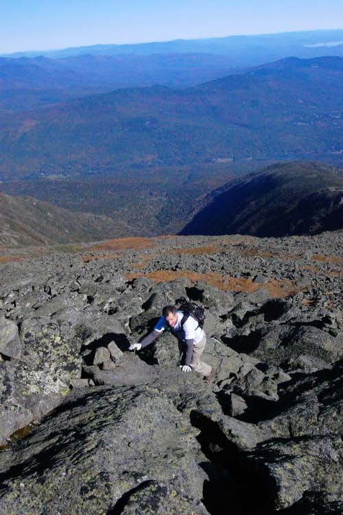 Scrambling up Mt. Quincy Adams