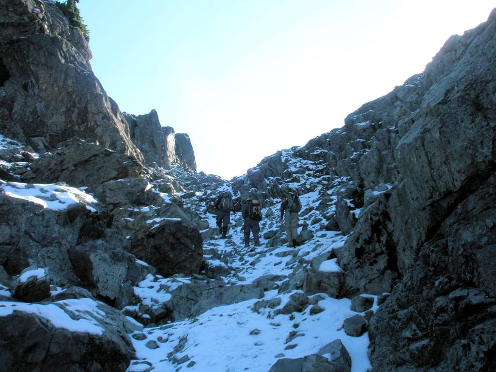 Gully leading to E-W ridge