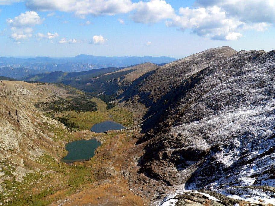 Looking down on Chicago Lakes form the east ridge