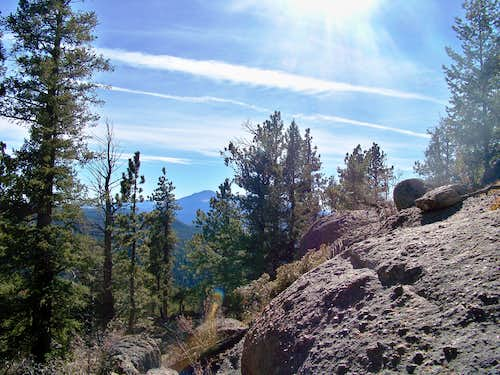 Pikes Peak beyond the rocky eastern slope