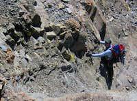 Dan (keema) climbing a loose...