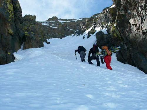 Entering the couloir top to...