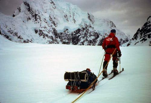 Skiing under Mount Huntington