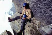 Bill Crouse lounging at a belay on the Gargoyle, Great Gorge