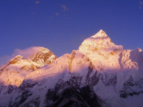 Alpen glow on Everest and Nuptse