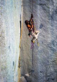 Carroll Holthaus jugging Ropes, Yosemite
