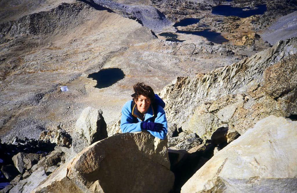 My wife, Carolyn climbing a steep gully to Mt. Agassiz