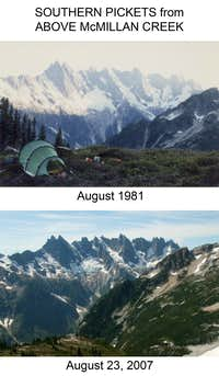 Southern Pickets in 1981 and 2007. The glaciers are getting smaller...