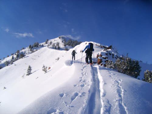 Skiing up Mt Aire