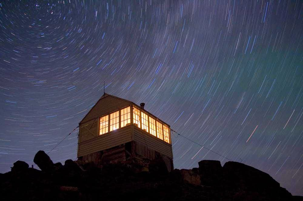 Star trails above the Hidden Lake Lookout
