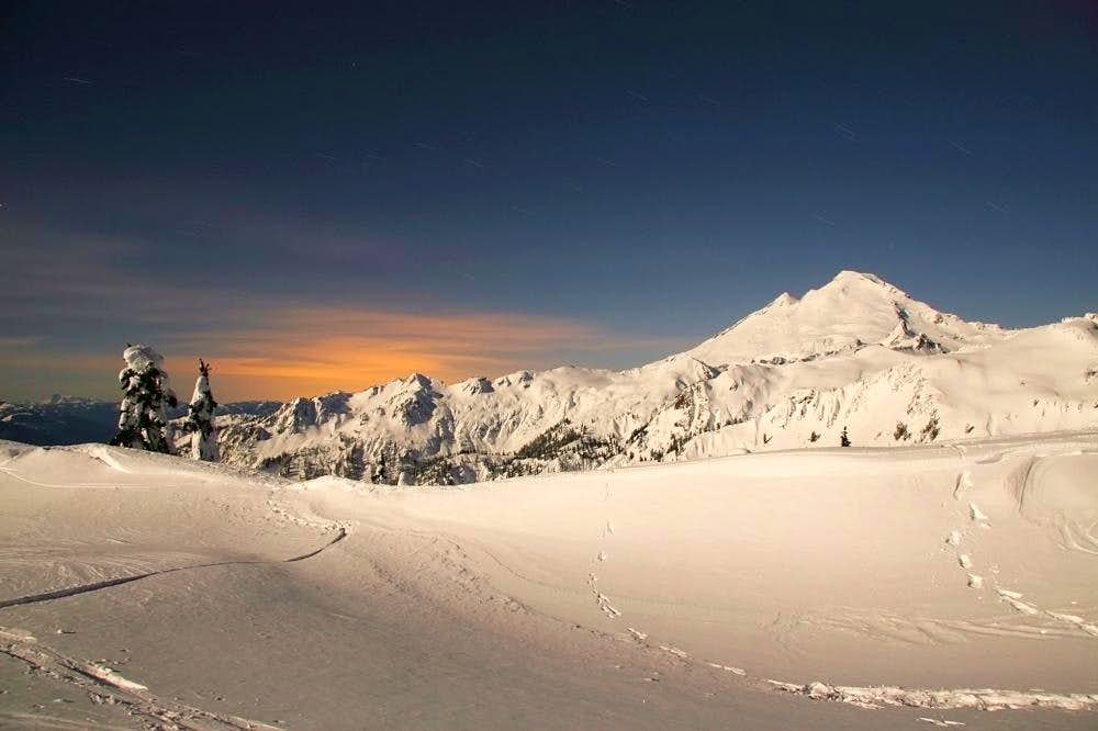 Moonlit winter landscape at Mt Baker