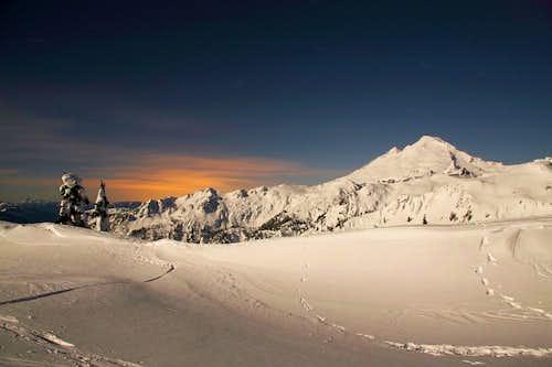 Moonlit winter landscape at Mt Baker