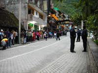 Waiting For the Bus in Aguas Calientes