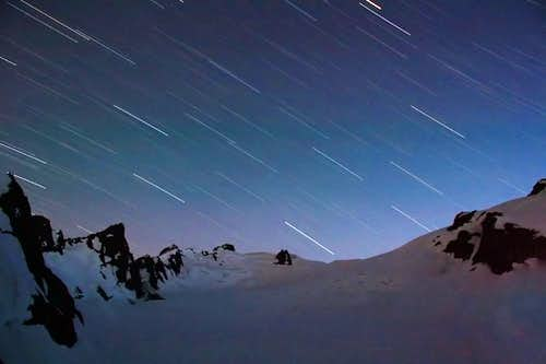 Star trails over the Hoh Glacier on Mt Olympus