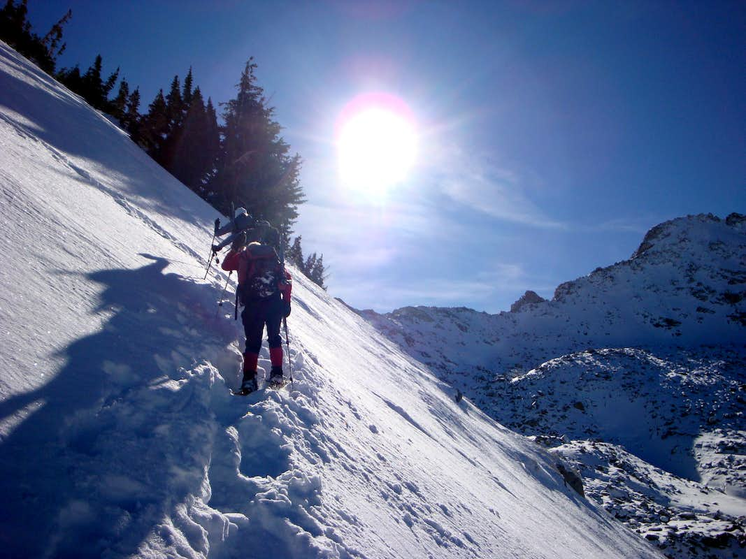 Snowshoeing up the west ridge of Red Baldy