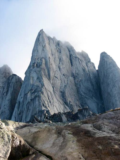 Beckey Chouinard on South Howser Tower and Snowpatch Route on Snowpatch Spire - Bugaboos