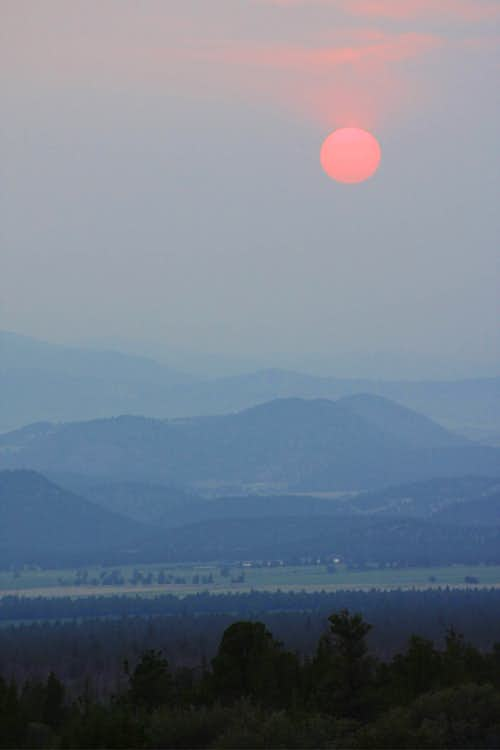 Smoke in the Shasta Valley after the 2008 summer fires