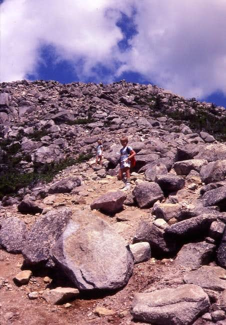 Kids approaching the summit...