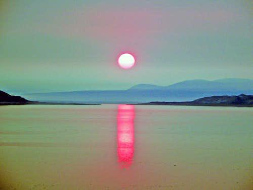 Eerie sunrise over Mono Lake