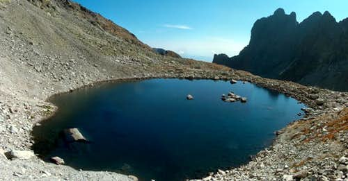 Modré Pleso, 2192m, Tatra's highest lake, from below Sedlo Sedielko