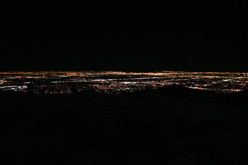 Denver at night from the summit