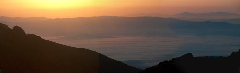 Sunrise from the Veľká Studená Dolina near the mountain hut Zbojnická Chata