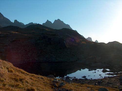 Sesterké Pleso in the sunrise, in valley Veľká Studená Dolina