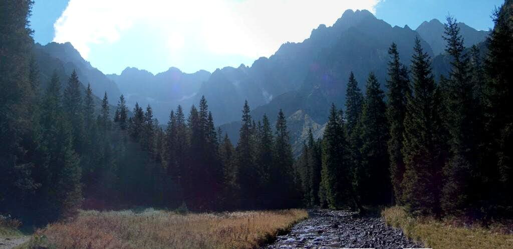 Tatras highest peaks, from the bottom of the valley <a href=